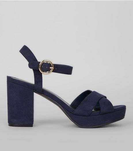Navy Suedette Cross Strap Block Heels | New Look