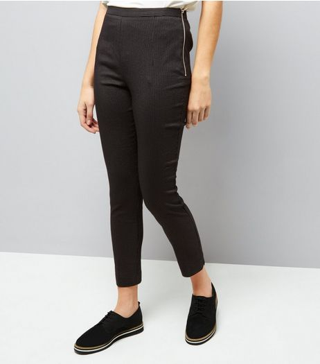 Black Pinstripe Zip Side Slim Leg Bengaline Trousers  | New Look