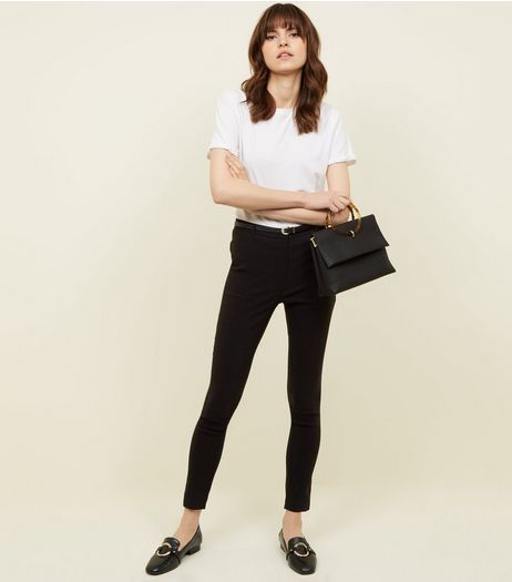 Black Slim Leg Bengaline Trousers | New Look