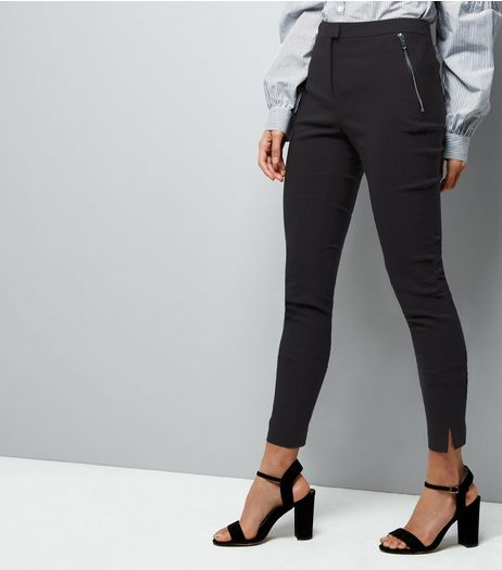 Black Zip Pocket Bengaline Trousers | New Look