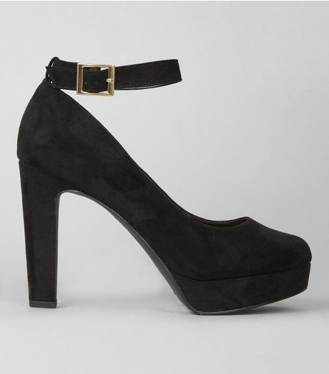 Black Suedette Platorm Ankle Strap Heels | New Look