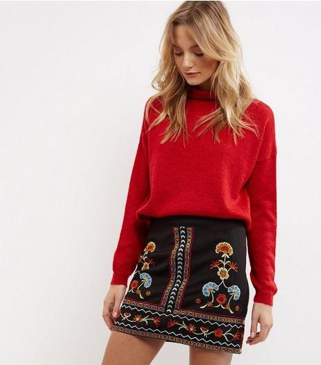 Black Floral Embroidered Skirt  | New Look