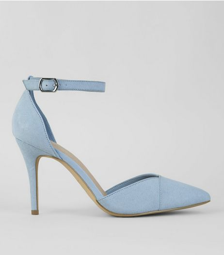 Blue Comfort Suedette Sling Back Heels | New Look