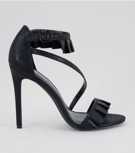 Black Frill Trim Strap Front Heeled Sandals  | New Look