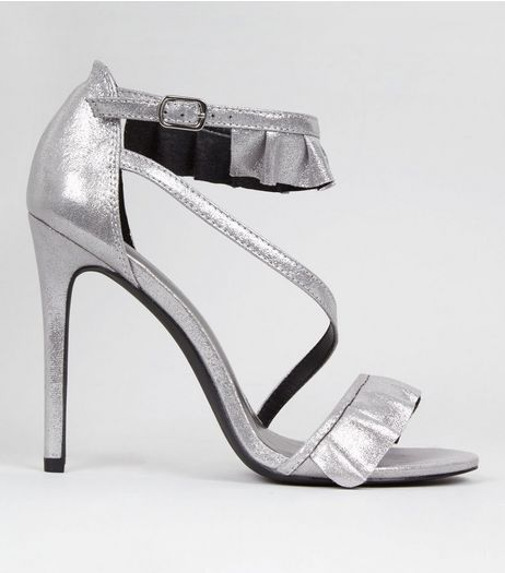 Silver Frill Strap Heeled Sandals | New Look