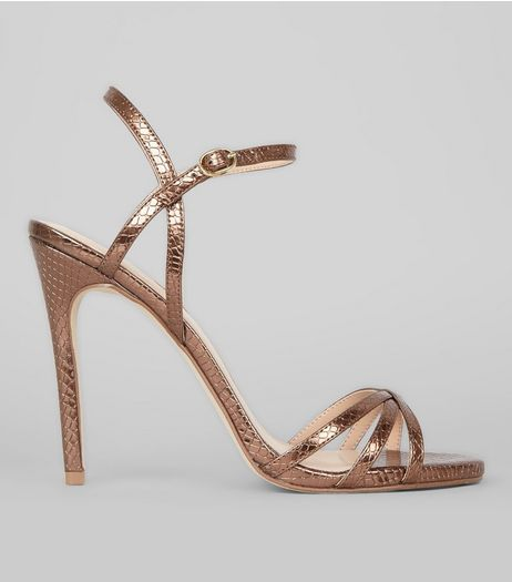 Bronze Snakeskin Textured Cross Strap Heels | New Look