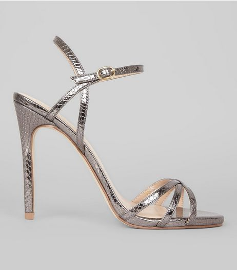 Pewter Snakeskin Textured Cross Strap Heels | New Look