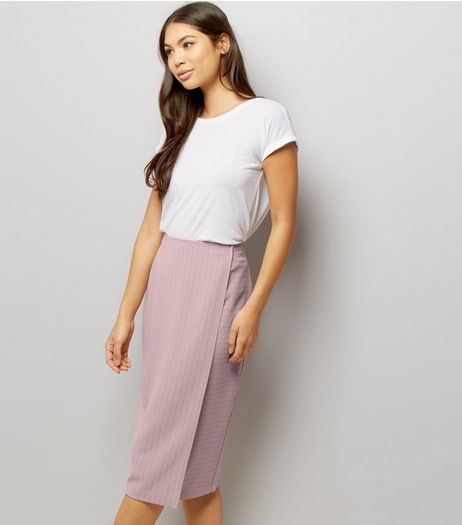 Mid Pink Pinstripe Print Wrap Front Skirt  | New Look