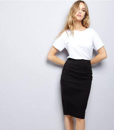 Black Bengaline Pencil Skirt | New Look