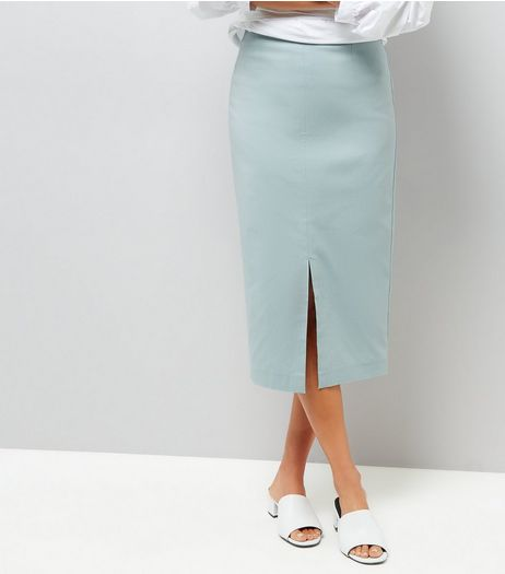 Mint Green Split Side Midi Pencil Skirt | New Look
