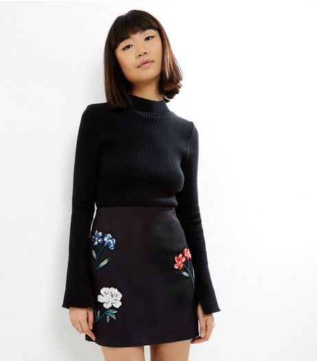 Black Floral Embroidered Mini Skirt  | New Look