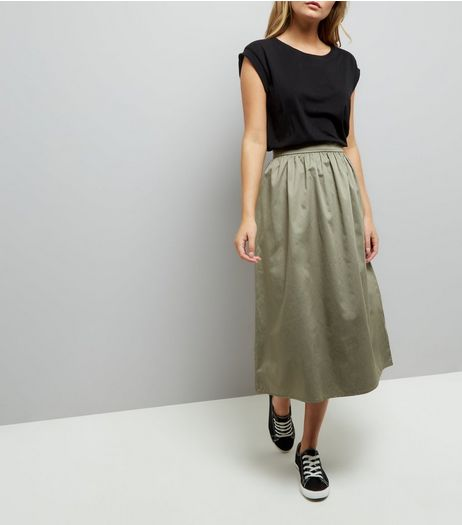 Khaki Balloon Midi Skirt | New Look