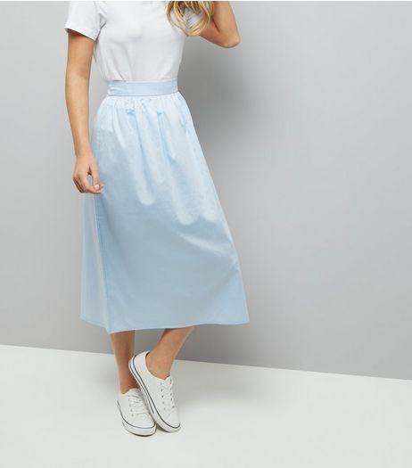 Pale Blue Balloon Midi Skirt | New Look