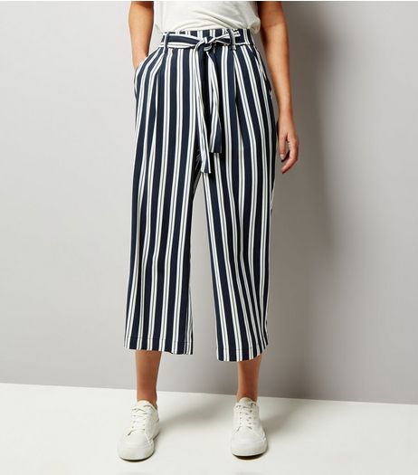 Navy Stripe Tie Waist Culottes | New Look