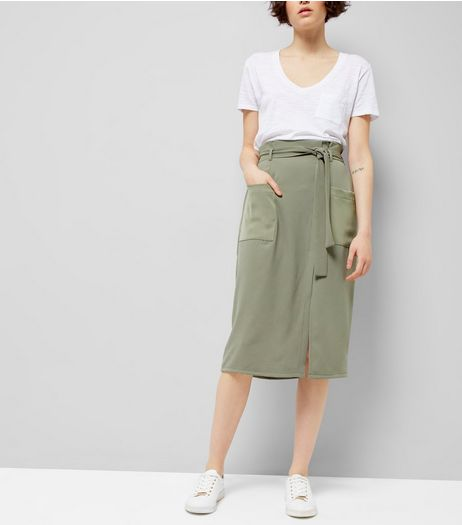 Khaki Crepe Tie Waist Midi Skirt  | New Look