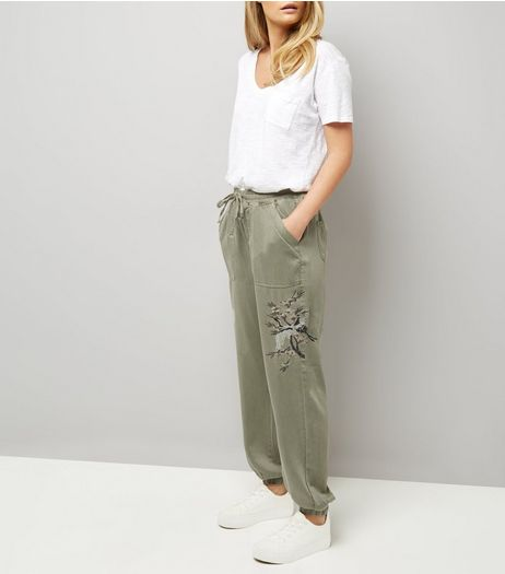 Olive Green Embroidered Joggers  | New Look