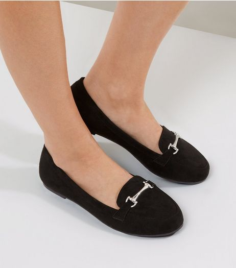 Wide Fit Black Suedette Snaffle Loafers | New Look