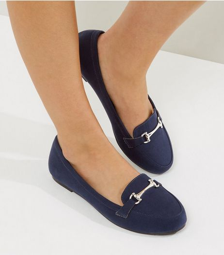 Wide Fit Navy Suedette Snaffle Loafers | New Look
