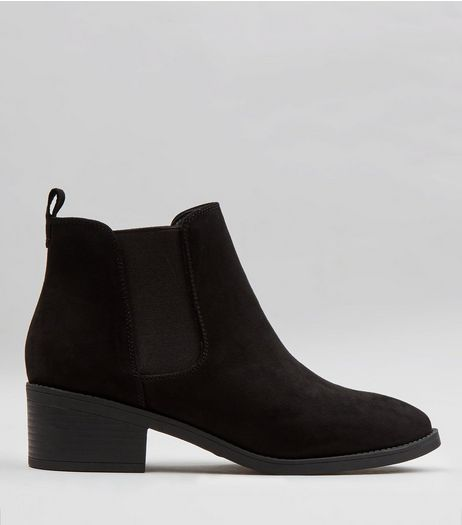 Wide Fit Black Suedette Pointed Chelsea Boots | New Look