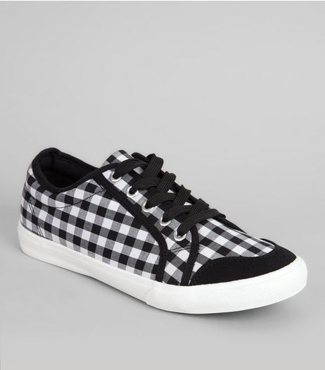 Wide Fit White Gingham Lace Up Trainers | New Look