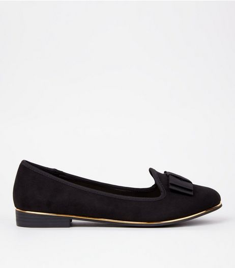 Wide Fit Suedette Metal Trim Bow Front Tab Slippers | New Look