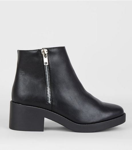 Wide Fit Black Side Zip Chunky Boots | New Look