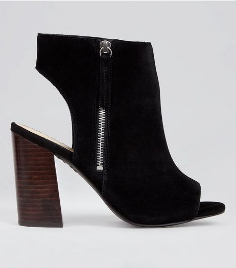 Wide Fit Black Suede Peep Toe Heels | New Look