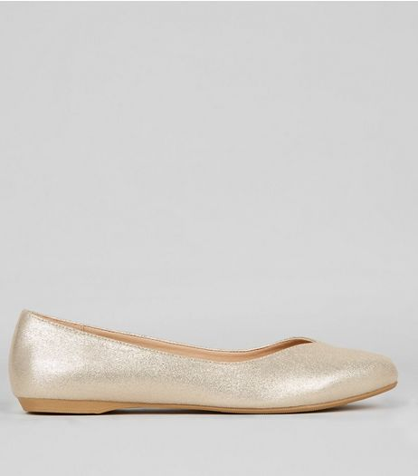 Wide Fit Gold Glitter Pumps | New Look