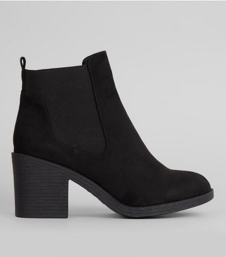 Wide Fit Black Elasticated Side Chelsea Boots | New Look