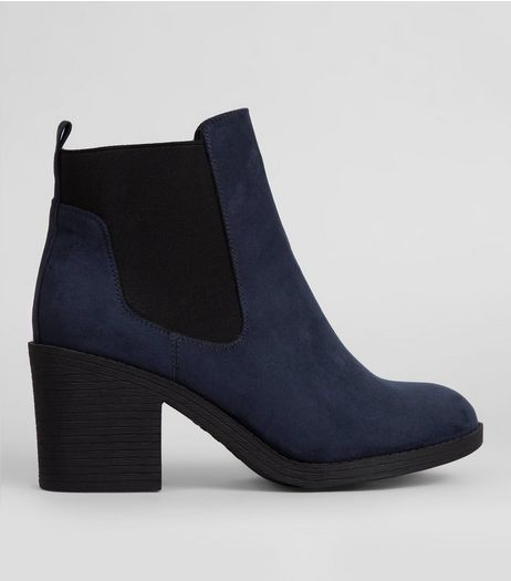 Wide Fit Navy Suedette Chelsea Boots | New Look