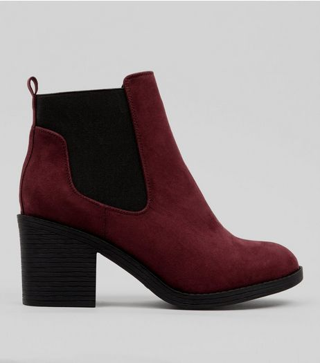 Wide Fit Burgundy Suedette Chelsea Boots | New Look