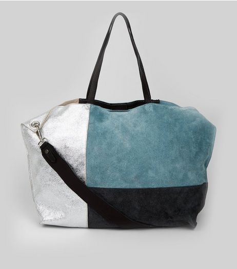 Blue Suede Metallic Colour Block Tote Bag | New Look