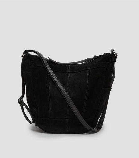 Black Suede Hobo Backpack | New Look