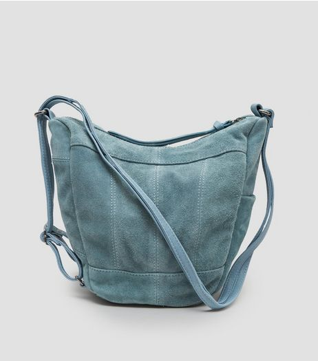 Blue Suede Hobo Backpack | New Look