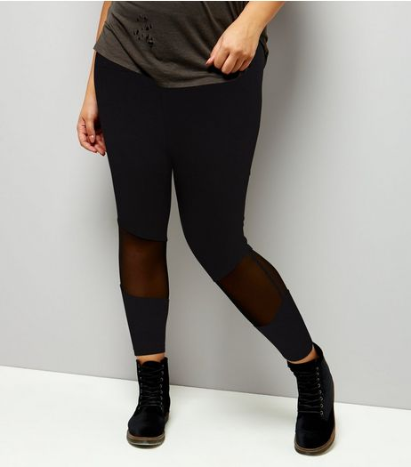 Curves Black Mesh Panel Leggings  | New Look
