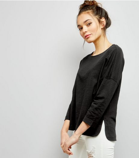 Black 3/4 Sleeve Top | New Look