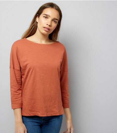 Light Brown 3/4 Sleeve Top | New Look