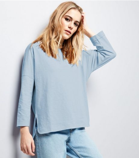 Pale Blue 3/4 Sleeve Top | New Look