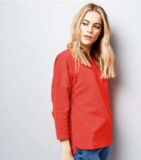 Orange 3/4 Sleeve Top | New Look