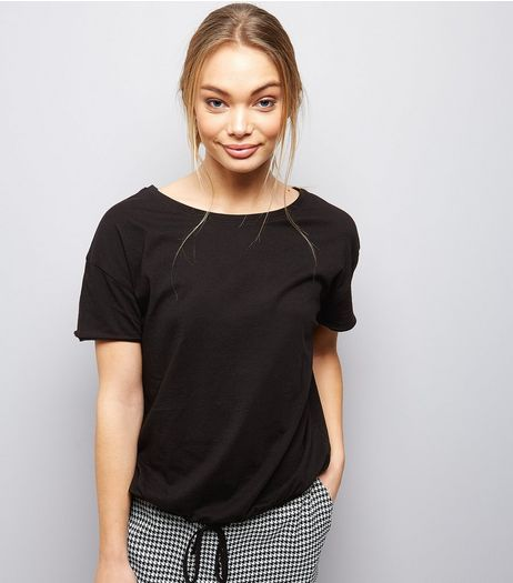 Black Drawstring Hem T-Shirt  | New Look