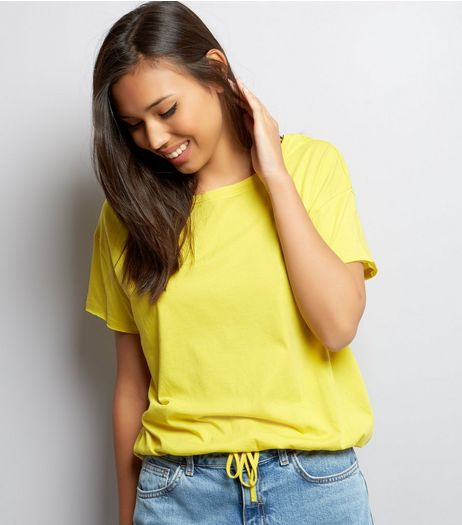 Yellow Drawstring Hem T-Shirt | New Look