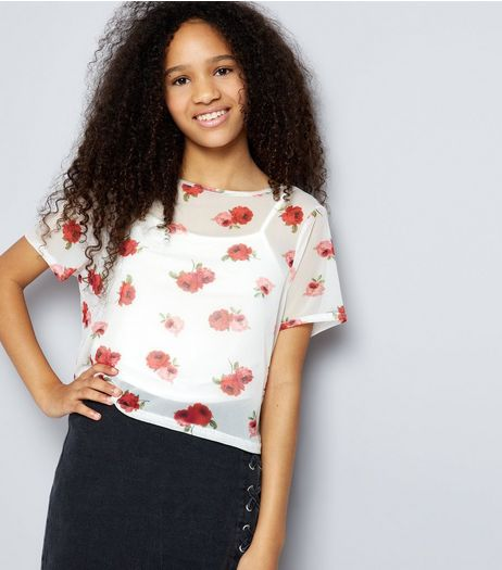 Teens White Rose Print Mesh Crop Top | New Look