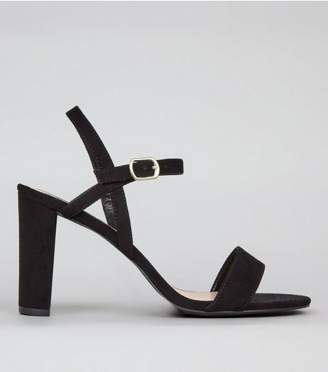 Wide Fit Black Suedette Cross Strap Side Heels | New Look