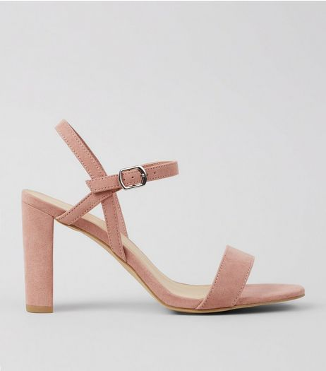 Wide Fit Pink Suedette Cross Strap Side Heels | New Look
