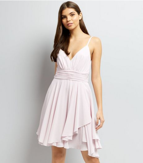Light Purple Asymmetric Hem Chiffon Prom Dress  | New Look