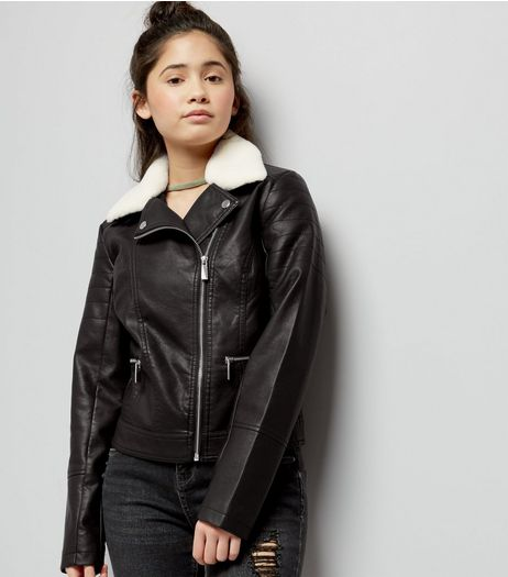 Teens Black Faux Fur Trim Leather-Look Jacket  | New Look