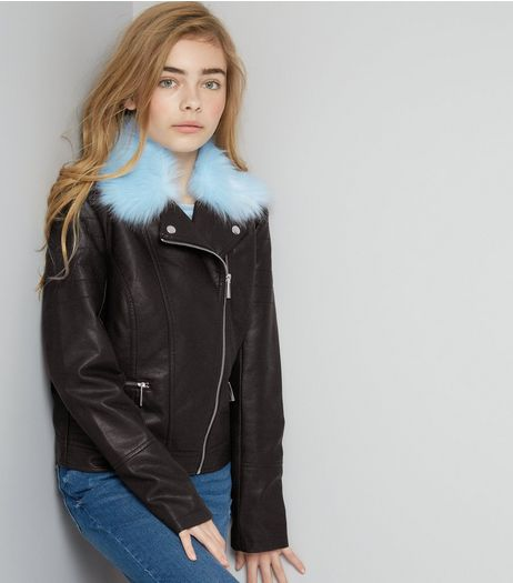 Teens Blue Faux Fur Trim Leather-Look Jacket | New Look