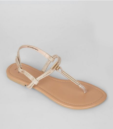 Wide Fit Gold Sandals  | New Look