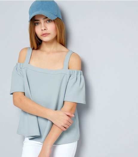 Teens Pale Blue Crepe Scuba Bardot Neck Cold Shoulder Top | New Look