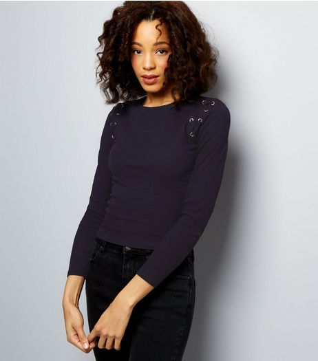 Navy Lattice Shoulder 3/4 Sleeve Top  | New Look